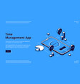 time management app isometric landing page banner vector image vector image