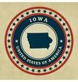 Vintage label Iowa vector image