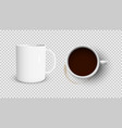 white coffee cup and white cup view from top vector image vector image