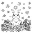 winter coloring page with rabbit vector image vector image