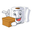 with box character toilet paper rolled on wall vector image vector image