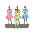 Woman Choosing Dresses On Mannequinns In Shopping vector image vector image