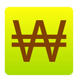 won sign brown icon at green-yellow vector image vector image