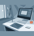 workplace of an painter or designer vector image vector image
