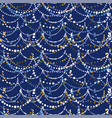 xmas lights on deep blue color background vector image vector image