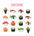 sushi set stickers labels logos asian food vector image