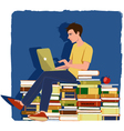 Young man studying vector image