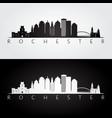 rochester usa skyline and landmarks silhouette vector image