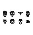 skull icon set simple style vector image