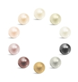 Pearl realistic set isolated on white background vector image