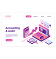 accounting and audit isometric landing page vector image vector image
