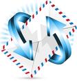 arrow around postal envelope vector image vector image
