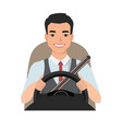 asian man driving a car man clothing in casual vector image