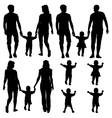 Black silhouettes Gay lesbian couples and family vector image
