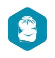 black trash bag icon simple style vector image