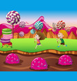 boy and girl in candy land vector image