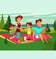 cartoon caucasian family at picnic party vector image vector image