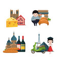 cartoon france sights and objects piles set vector image