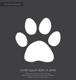 cat footprint premium icon white on dark backgroun vector image vector image