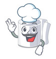 chef character toilet paper rolled on wall vector image vector image