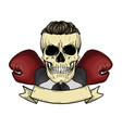 color angry skull with boxing gloves vector image vector image