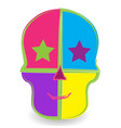 colored skull head smiling icon design vector image