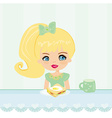 cute little girl eating breakfast in the kitchen vector image