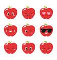 cute red apple emoticon set vector image vector image