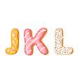 donut icing upper latters - j k l font of vector image