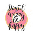 donut worry be happy donut with decorative vector image vector image