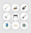 flat icon dacha set of barbecue lawn mower tool vector image vector image