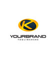 golden letter k logo curved oval shape auto guard vector image vector image