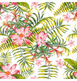 green tropical seamless pattern white background vector image vector image