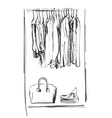 hand drawn wardrobe sketch clothes of the hanger vector image vector image