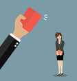 Hand of boss showing a red card to woman employee vector image vector image