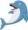 happy dolphin cartoon vector image vector image