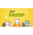 happy easter greeting card with rabbits hand vector image vector image