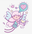 happy valentines day cute cupid love message vector image vector image