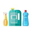 Household chemistry cleaning plastic bottles vector image