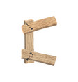 letter c wood board font plank and nails alphabet vector image