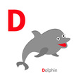 letter d dolphin zoo alphabet english abc vector image vector image
