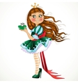 Little princess in green dress with frog vector image vector image