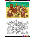 monkeys animal characters group color book vector image vector image