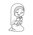 moslem girl praying dua bw vector image vector image