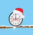 new year clock with red hat on a twig color vector image vector image