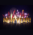 new year fireworks background vector image