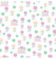 pink and yellow smiling floral seamless pattern vector image vector image