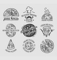 pizza icons set templates for fast food or vector image