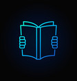 reading a book blue icon vector image vector image