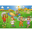red indian cartoon vector image vector image